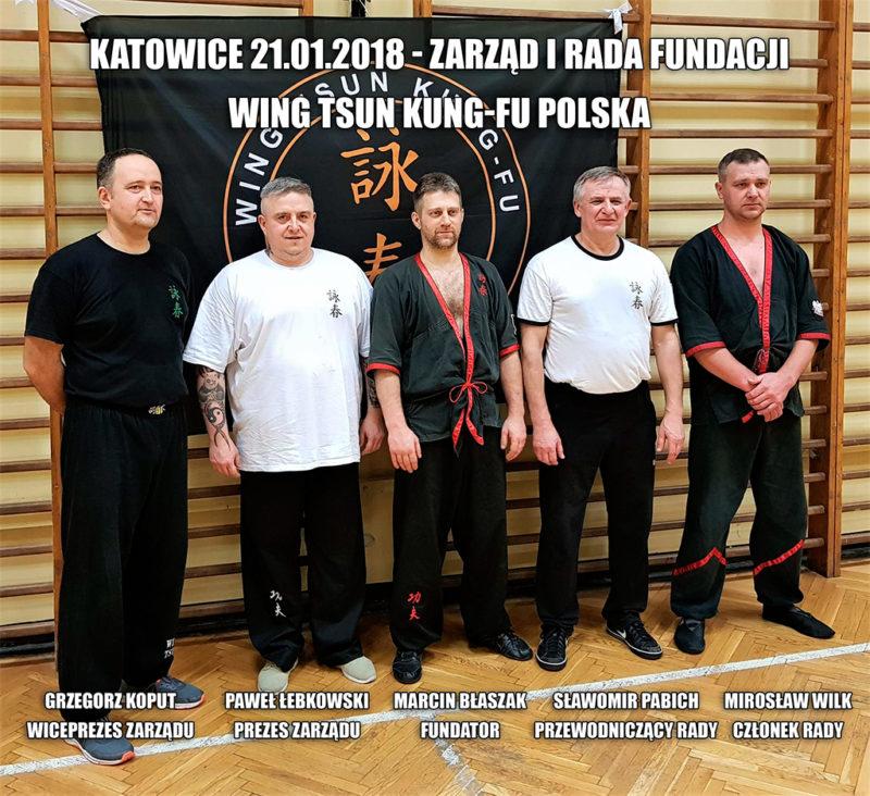Fundacja Wing Tsun Kung-Fu Polska - fundator i skład zarządu (Katowice 21.01.2018)